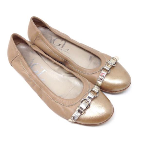 e0ed427d5c8 Attilio Giusti Leombruni Shoes - AGL Taupe Leather Patent Cap Toe Ballet  Flats 7.5